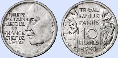 10 Francs 1941 Philippe Petain Essai Marechal de France Chef de L/'Etat